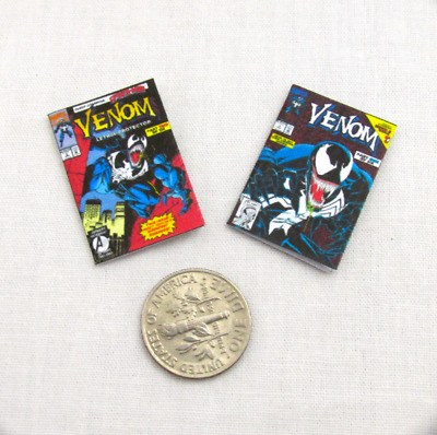 2 Miniature VENOM COMIC BOOKS Dollhouse Readable 1:12 Scale *2 FOR 1* Marvell