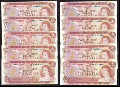 10x 1974 Bank of Canada $2 dollar banknotes UNC60 to CH UNC63