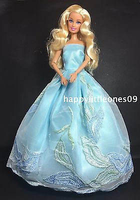 Blue Embroidered Barbie Doll Wedding Party Evening Dress/Clothes/Outfit BrandNew