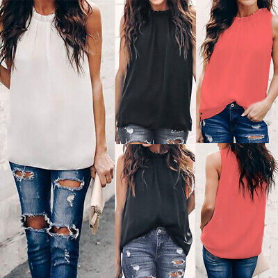 Ladies Sleeveless Summer Ruffles Plain Vest Tank Tops Women Blouse Chiffon Shirt