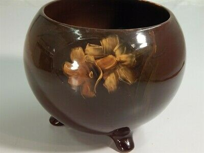 Antique Roseville Pottery Rozane 3 Toed Jardiniere Floral Unmarked