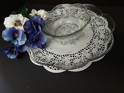 ANCHOR HOCKING Clear Pressed Glass Chip and Dip Set SAVANNAH Pattern