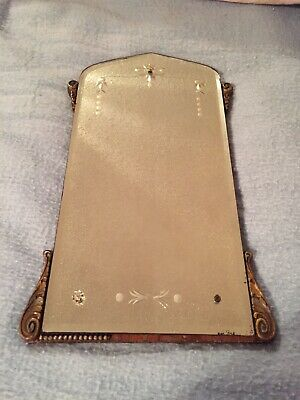 """Vintage etched mirror, beveled edge, gesso frame, 8"""" wide, 16"""" tall, heavy"""