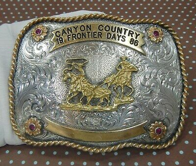 Old Western Frontier Days 1986 Rodeo Montana Silver Smiths Vintage Belt Buckle