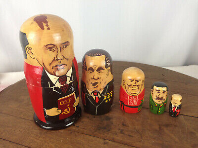 VTG Soviet Nesting Dolls Painted Wooden Communist Leaders Russian Five Pcs  #WH-