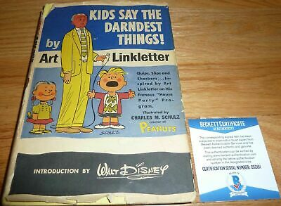 ART LINKLETTER SIGNED KIDS SAY THE DARNEDEST THINGS 1957 Bk BAS  Art Work Schulz
