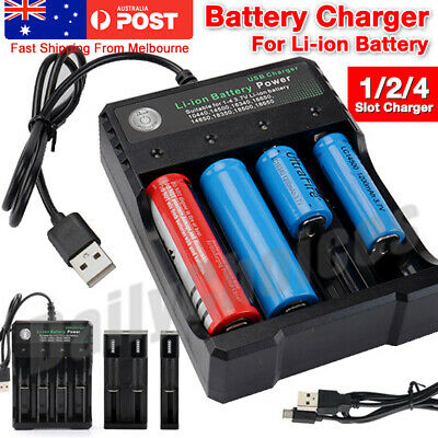 4 Slots Universal 18650 Battery Charger Li-ion/NiMH 26650/AA Battery Charger AU