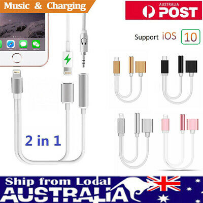 Lightning to 3.5mm Aux Headphone Jack Audio Charge Adapter For iPhone X 8 7 Plus