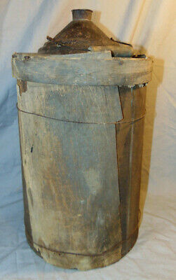 "Antique Tin Metal Primitive Farm Water Jug w/ Wood Shingle Exterior 18"" Tall"