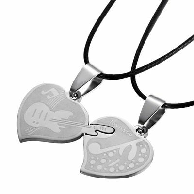 Couple's Romantic Stainless Steel  Heart Love You Pandent Chain Necklace Gifts
