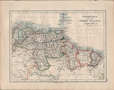 1914 Map ~ South America ~ Venezuela & Three Guianas West Indies