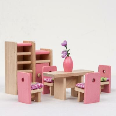 Fashion Wooden Furniture Dolls House Miniature 6 Room Set Learn Toys for FF 03
