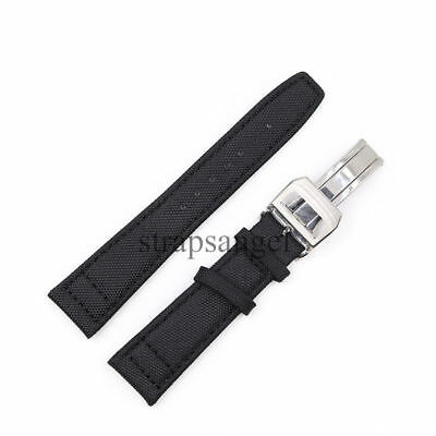 20mm Black Nylon Leather Replacement Watch Strap Band with Clasp For PORTUGUESE