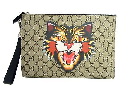 5f3afbdcfc4e GUCCI Angry Cat Print GG Supreme Pouch Clutch Bag Beige Coated Canvas 473904