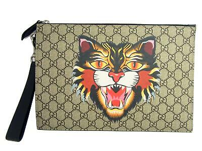 a23cd8ec32b398 GUCCI Angry Cat Print GG Supreme Pouch Clutch Bag Beige Coated Canvas 473904