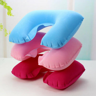 Inflatable Pillow Air Cushion Neck Rest U-Shaped Compact Plane Flight Travel UL
