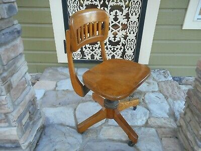 Antique Sikes Co. Oak Wood Office Chair Swivel Banker Lawyer Industrial Nice!