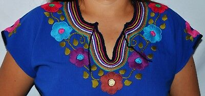 Mexican Hand Embroidered Blouse  BLUE & FLOWERS Style Frida Kahlo