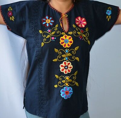 Mexican Hand Embroidered Blouse  NAVY BLUE  Style Frida Kahlo