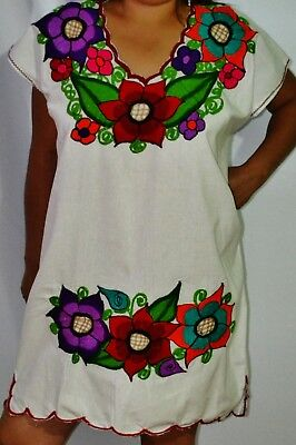 Mexican Hand Embroidered MINNI DRESS  FLORAL WHITE Style Frida Kahlo
