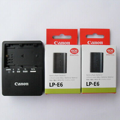 Two Original Canon LP-E6 Batteries + Charger  EOS 5D 6D 7D 60D 60Da Mark II III