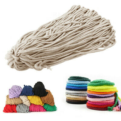 UK Macrame Rustic 5MM Rope Colorful Cotton Twisted Cord String DIY Hand Craft #