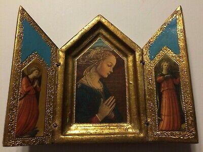 Beautiful Vintage Religious Icon Mary w/ Angels Italian Gold Wood Trifold Art