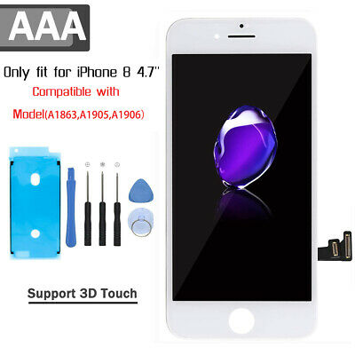 For iPhone 8 Screen Replacement White LCD Display Digitizer Assembly + 3D Touch