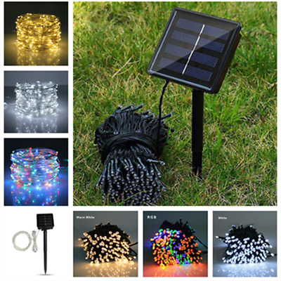 LED Solar Power Fairy Lights String Garden Outdoor Party Wedding 50/100/200 Lamp