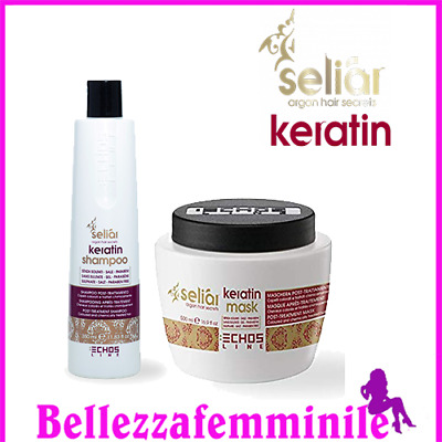 Echosline Kit Seliar Keratin post+trattamento+Shampoo 1000ml+ Maschera 1000ml
