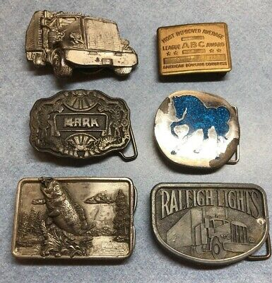 Vintage lot Of 6 Belt Buckles Variety Lot Truck, Fish, Horse, Mark, Bowling