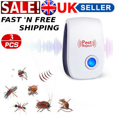3 Pack Ultrasonic Pest Repeller Mouse Spider Mice Rat Electronic Control Reject
