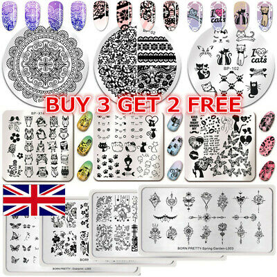 BORN PRETTY Nail Stamping Plates Geometry Rose Flower Manicure Nail Art Template