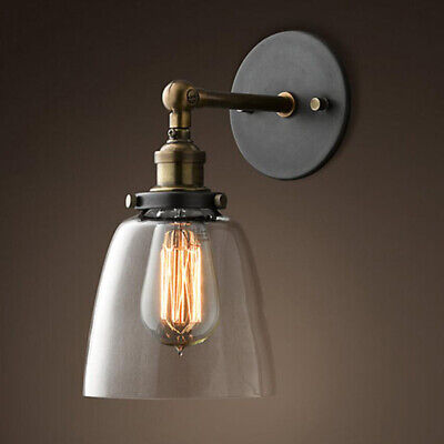 Modern Retro Vintage Industrial Wall Mounted Lights Rustic Glass Shade Sconce