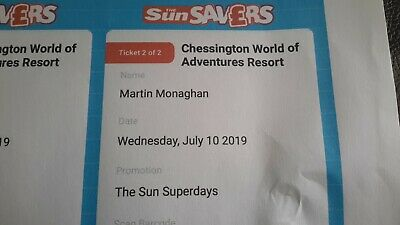 2 X Chessington World of Adventures Tickets - Valid Wednesday July 10th