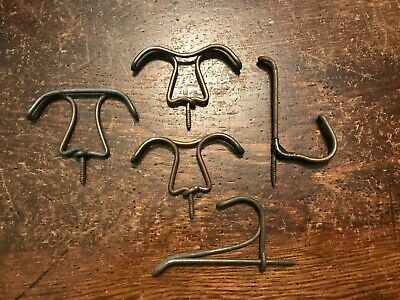 FIVE Twisted Wire Antique Ceiling Hooks & Coat Hooks