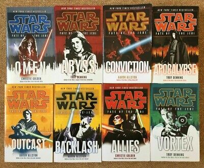 8 x Star Wars EU Novels Books Fate Of The Jedi Collection Omen Outcast Abyss
