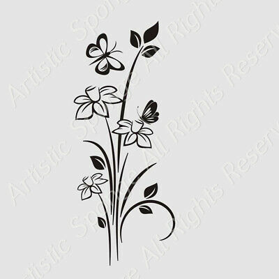 FLOWERS  Sizes Reusable Stencil Shabby Chic Romantic Modern Floral Style / J47