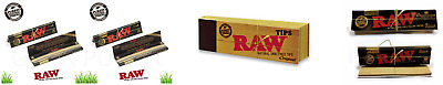 Raw Black King Size Slim Natural Rolling Papers + Tips Filter + Connoisseur Pack