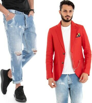 huge selection of 228d5 a6296 COMPLETO CASUAL UOMO Giacca Rossa Jeans Pantaloni Con Rotture Outfit GIOSAL
