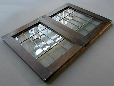 Small PAIR Antique ARTS & CRAFTS Dark Oak LEADED GLASS PANELS circa 1900