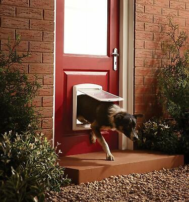 Pet Door Dog Cat Flap Entrance White Gate Medium 2 Way Lockable Easy Fitting NEW