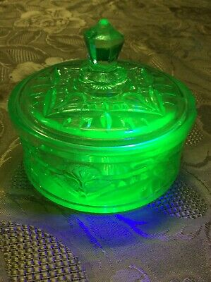 Crown Crystal Glass Warratah Uranium Glass Trinket Box AF