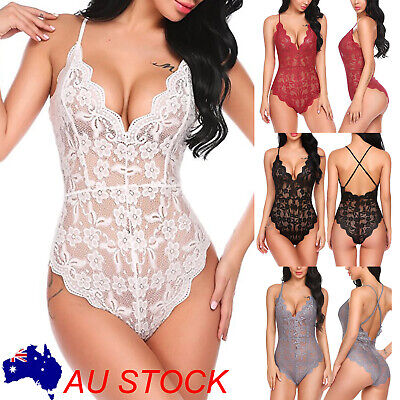Women Lingerie Sleepwear Body Stocking Lace Babydoll Nightwear Bodysuit Fashion