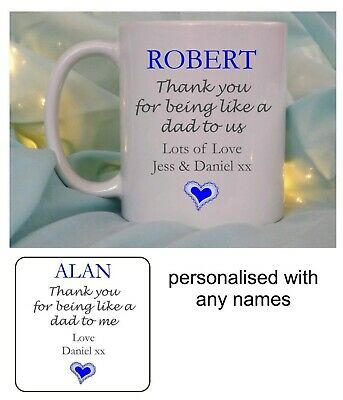 Personalised Fathers Day Gift Mug Coaster Foster Dad Stepdad Uncle Birthday