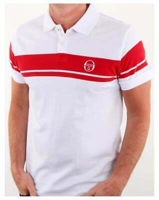 Sergio Tacchini Young Line Polo Shirt in White & Red - short sleeve McEnroe