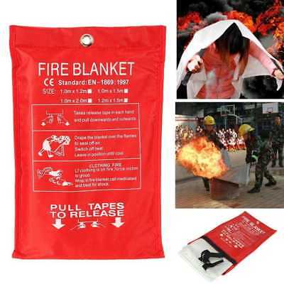 FIRE BLANKET 1M x 1M QUALITY QUICK RELEASE LARGE FULLY APPROVED RED CASE Supply