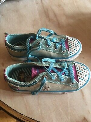 Skechers twinkle toes light-up girls' blue trainers, size 10.5