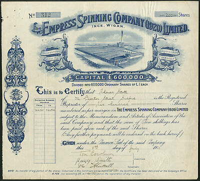 Empress Spinning Company (1920) Ltd., Ince, Wigan, £1 shares, 1920