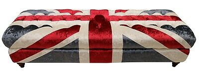 Chesterfield New British Flag Sofa Velvet Footstool Deep Buttoned Union Jack